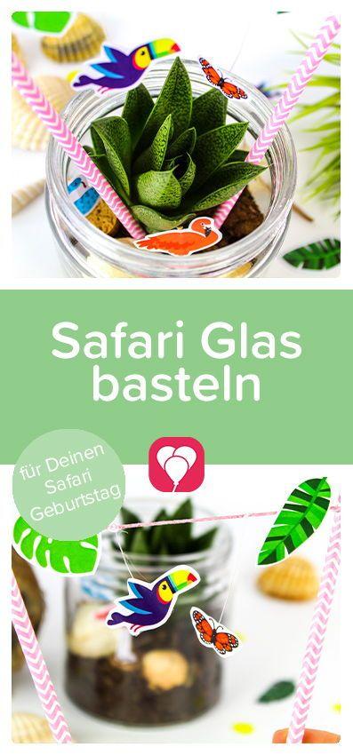 Safari Glas basteln beim Dschungel Kindergeburtstag – balloonas.com