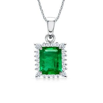 Angara Emerald-Cut Emerald Diamond Dangling Necklace in Yellow Gold crojV0WOef