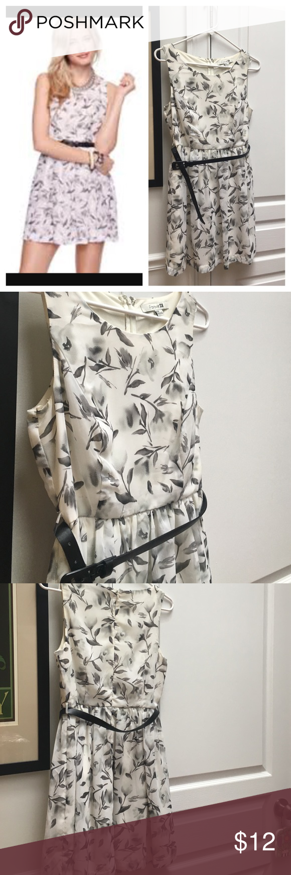 🆕 Belted floral dress Chiffon overlay with slip underneath. Leather-ish looking belt. Bust darts. 33 inches shoulder to hem. 16 inches armpit to armpit. Zip back. Excellent used condition. Forever 21 Dresses Mini