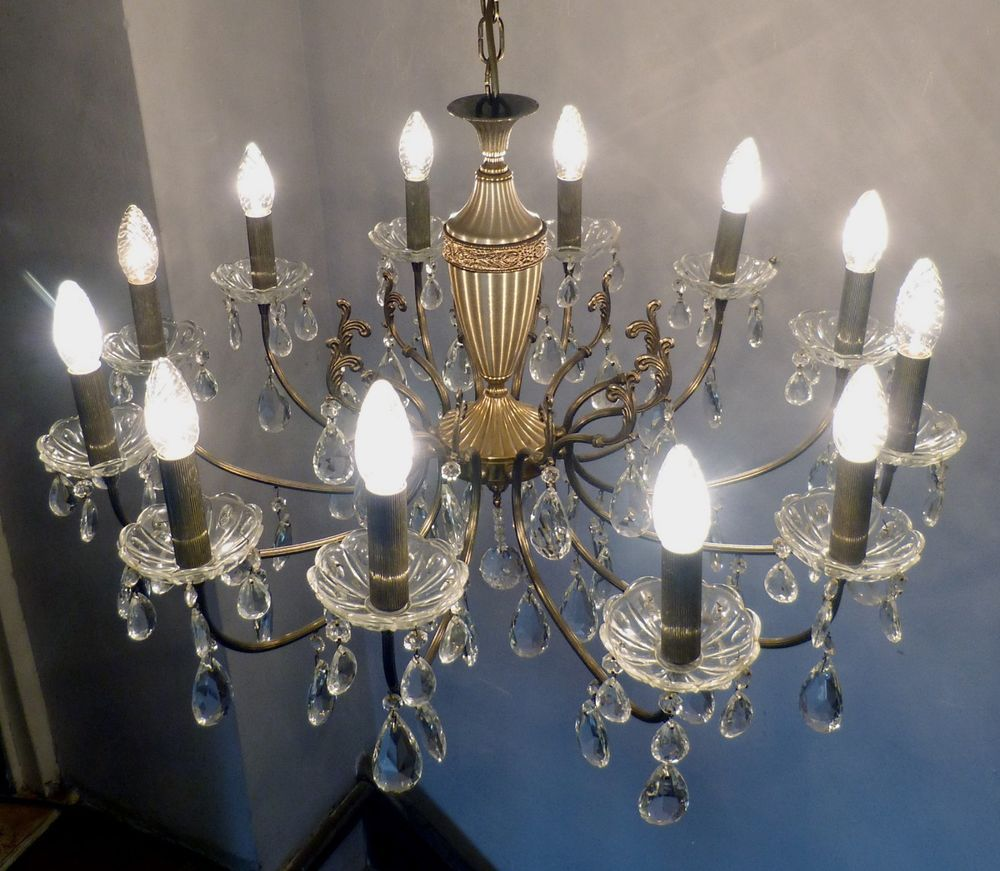 Huge Vintage French 12 Arm Brass Chandelier 98cm High X 74cm Wide Large Crystals Brass Chandelier Chandelier Large Crystals