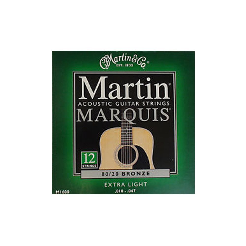 Martin M1600 Marquis 80/20 Bronze 12-String Acoustic Guitar Strings - Extra Light