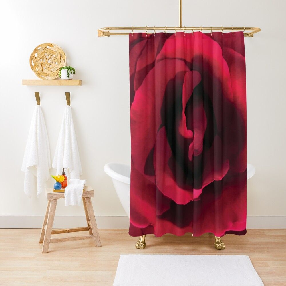 Perfect Red Rose Shower Curtain Curtains Red Roses Single