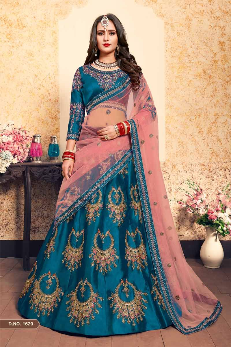 ec3b24d184 Magnify yourself with this fashionable unique color Royal Party Wear Lehenga  Choli for Young Girl. This dashing wedding special Indian lehenga crafted  with ...