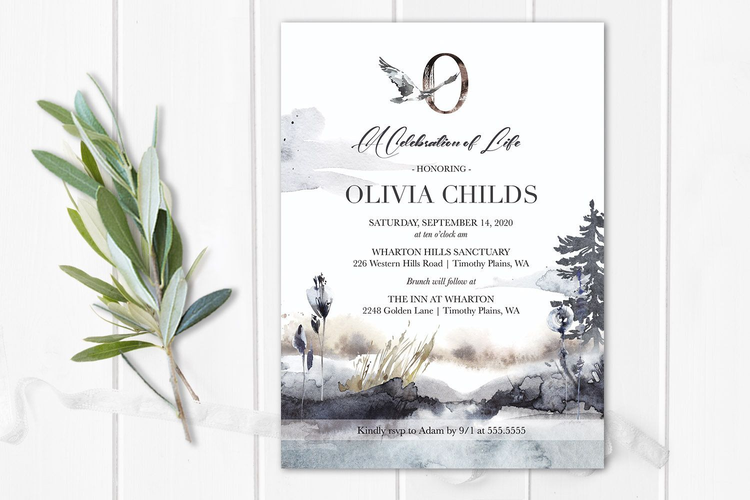 Celebration Of Life Invitations Funeral Announcement Memorial Etsy In 2021 Memorial Service Invitation Celebration Of Life Invitations Celebration of life announcement template