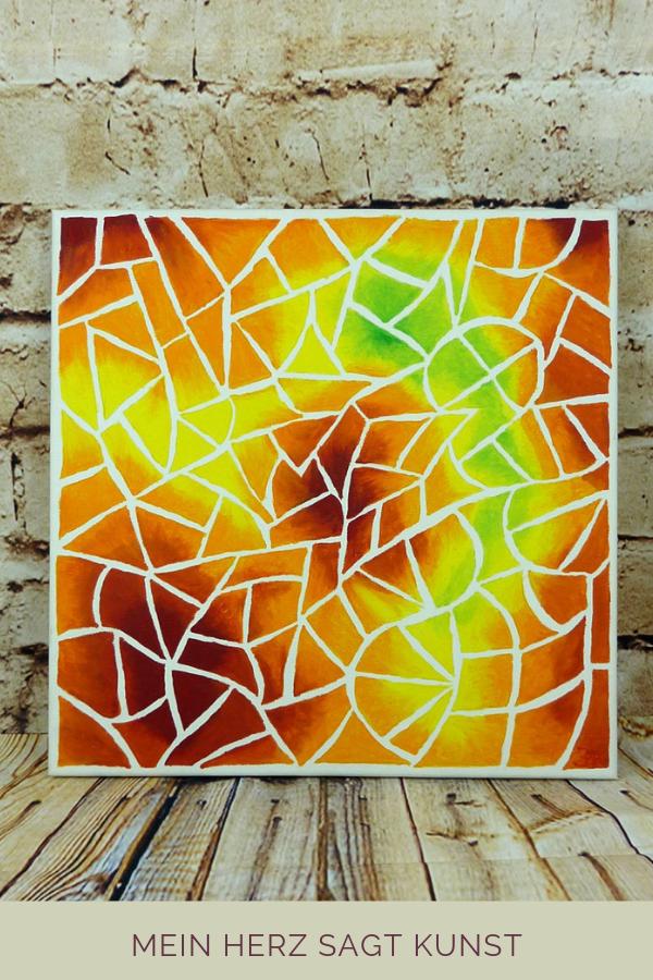 Acrylbild Mit Mosaik Optik Idee Zum Malen Acrylbilder