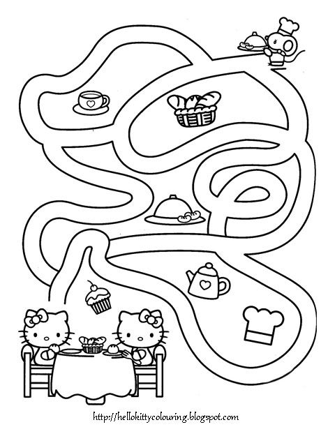 Mazes Are Great Activity Sheets That You Can Use In Many Different Ways And Settings They Are Grea Hello Kitty Coloring Kitty Coloring Hello Kitty Printables