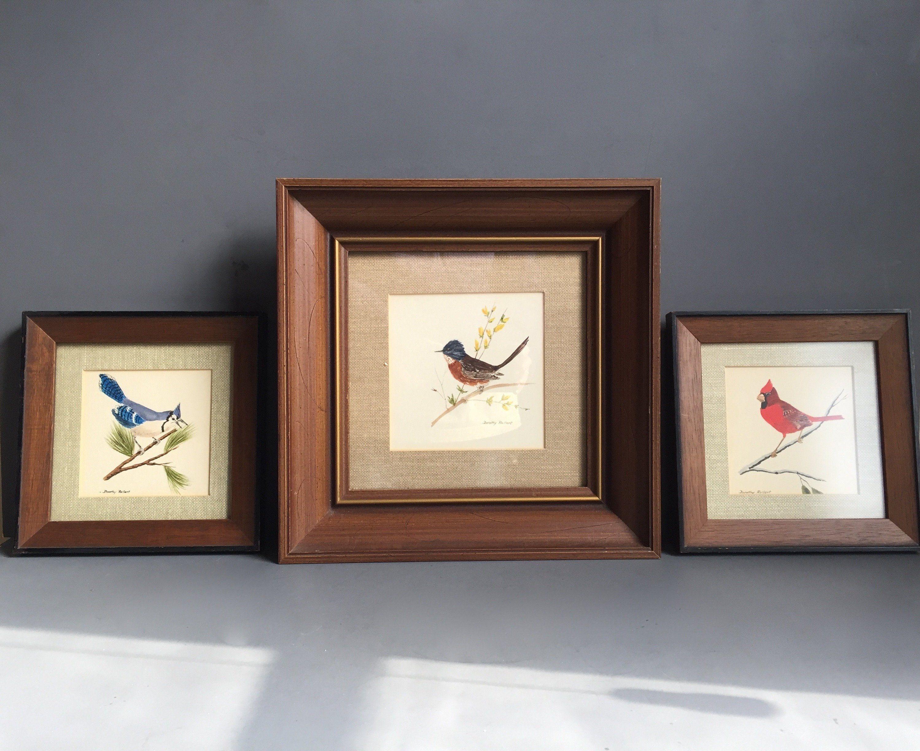 Antique Gouache Original Birds Framed from Estate