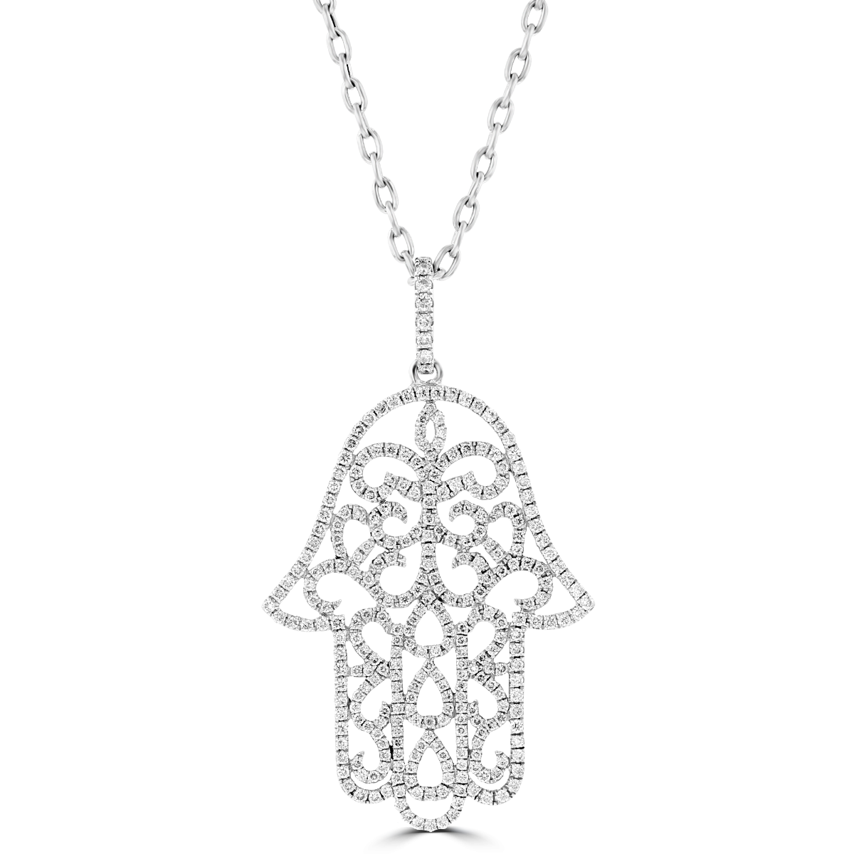 0a0ed60ab67f2 14KT White Gold .85 CTW Pave Diamond Hamsa Necklace in 2019 ...