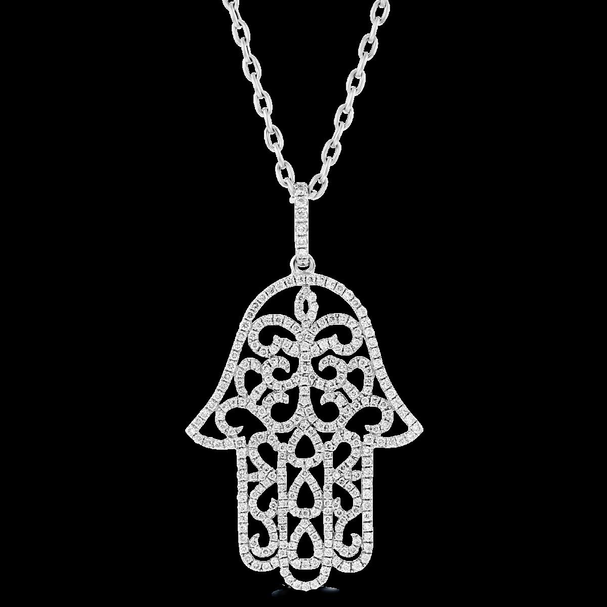 adb51e41e 18 Karat White Gold Pave Diamond Hamsa Pendant With 18