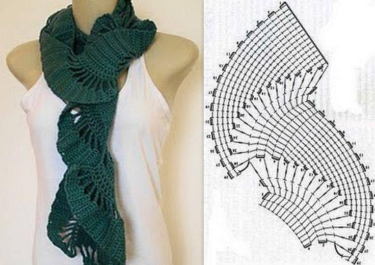 Cachecol | Gráficos e Receitas | Bufandas crochet | Pinterest ...