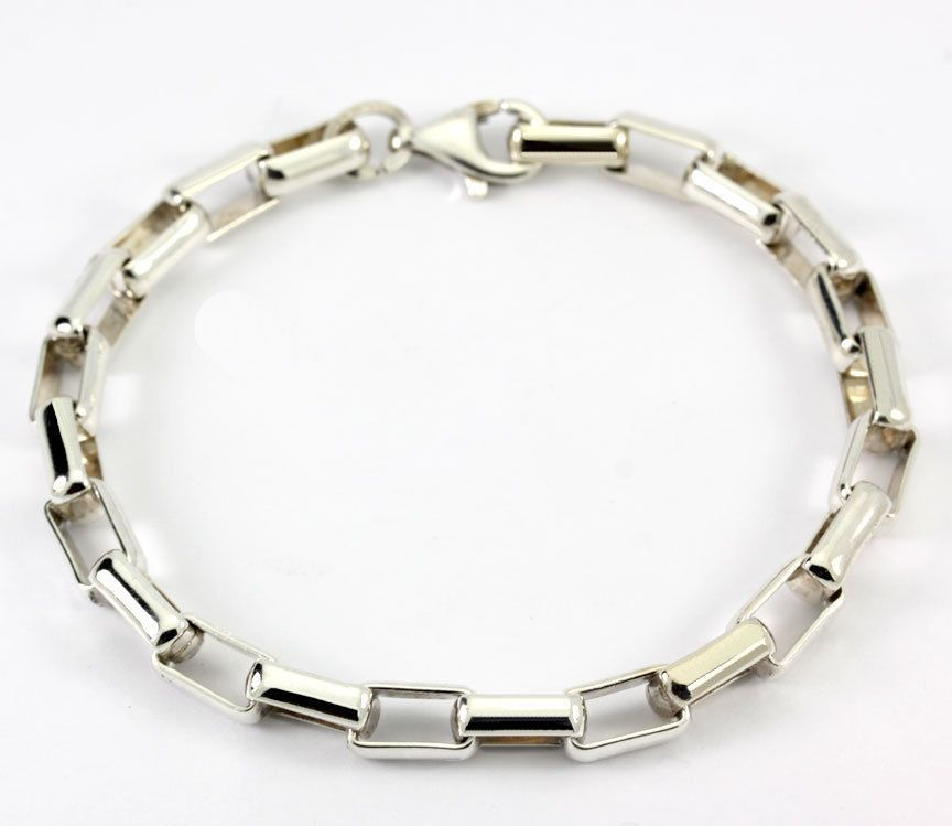 Vintage MSCO  Sterling Silver Interlocking Open Bar Link Bracelet 7.75""