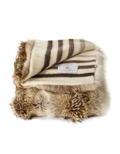 Hbc Collection Hbc Jeté En Fourrure De Coyote à Rayures Du Millénaire Fur Throw Blanket Fur Throw Hudson Bay Blanket