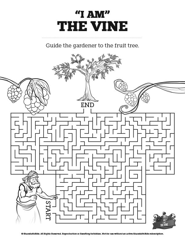 John 15 I Am The Vine Bible Mazes: Your kids will love guiding the ...
