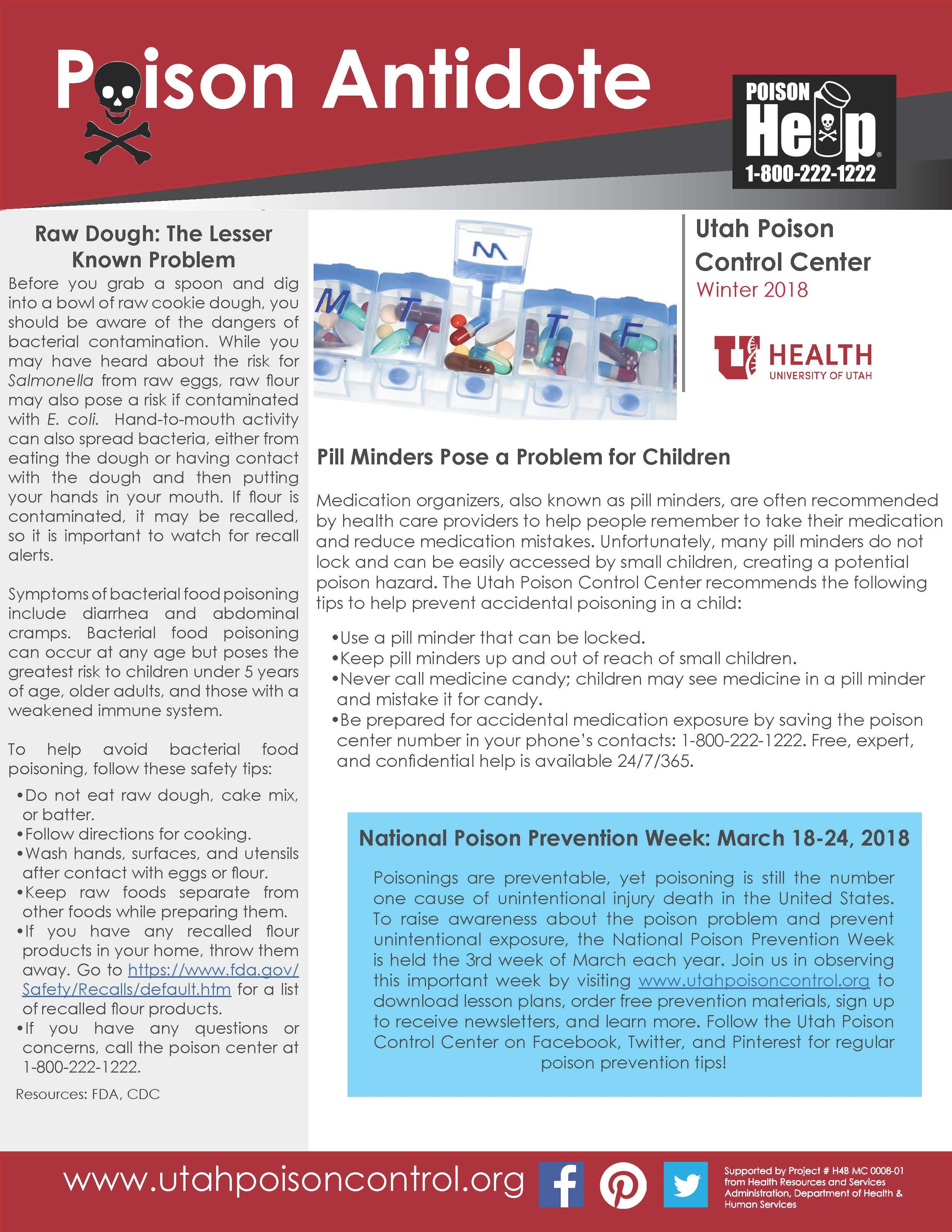 Poison Control Utah >> Utah Poison Control Center Winter 2018 Poison Antidote Newsletter