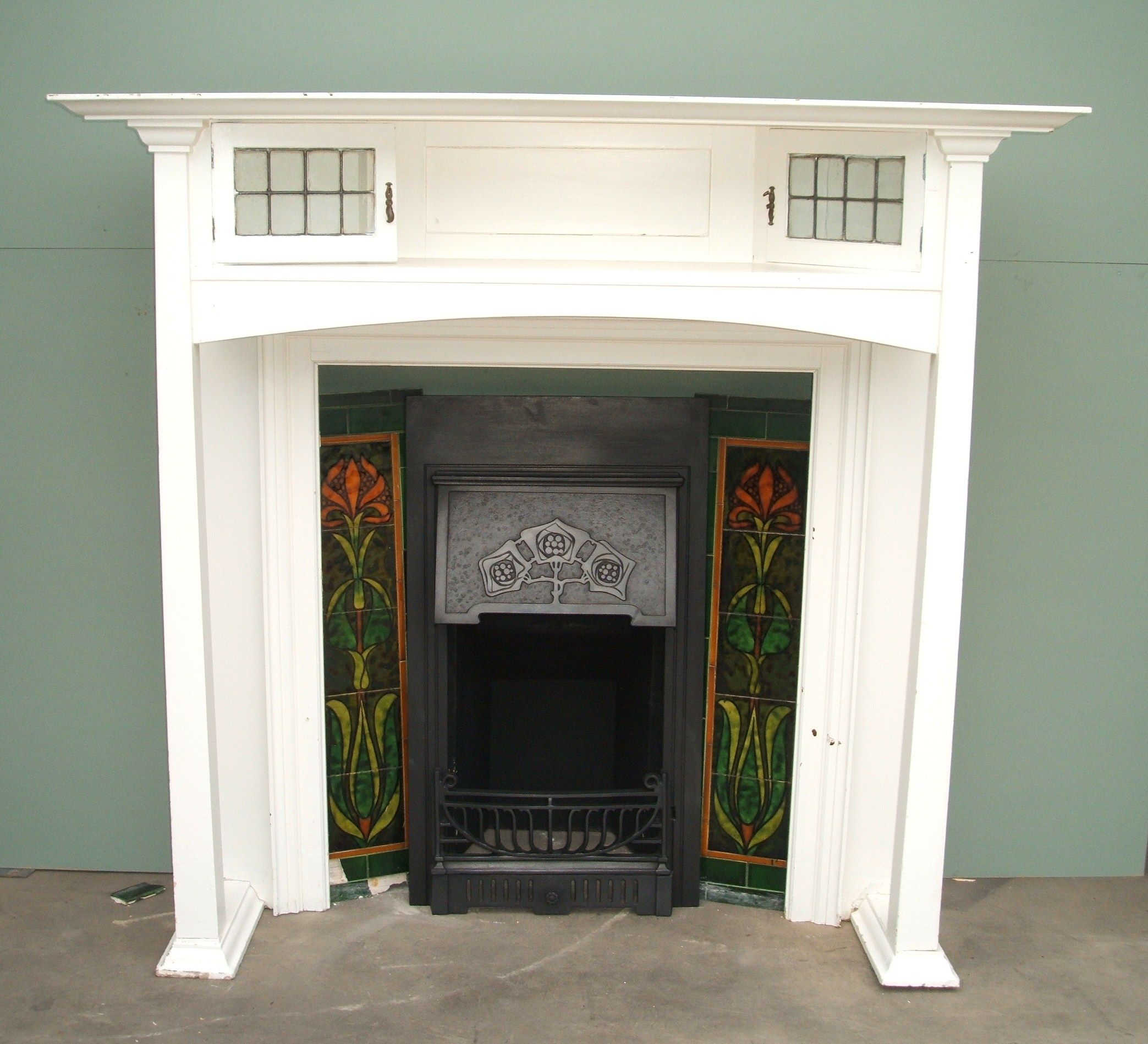 Charles Graham Architectural Antiques and Fireplaces - Original Antique Arts and Crafts wooden fire surround - ref WS04