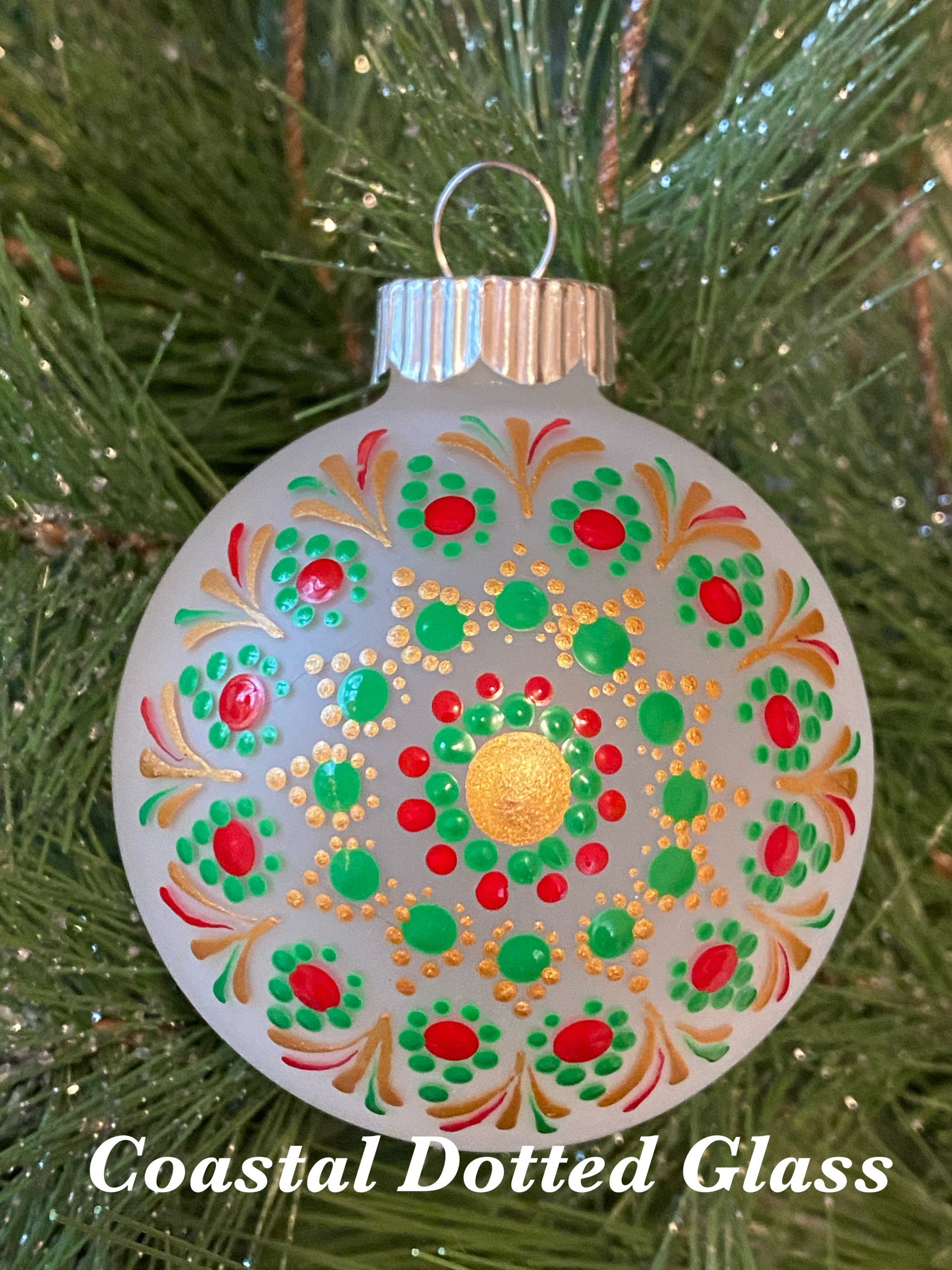 Christmas Tree Glass Ornament Hand Painted Collectible Gift Etsy Hand Painted Ornaments Painted Christmas Ornaments Glass Ornaments
