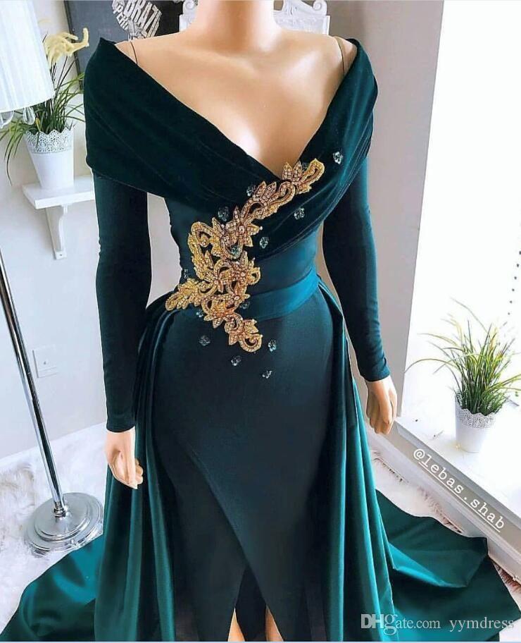 Prom Dresses Sequins Formal Evening Gown Dubai 2019 Deep V Neck Sexy Front Split Backless Party Gowns Black Couple Day vestido de novia