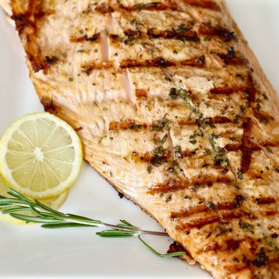 Bold and flavorful salmon cooked to perfection on the grill in less than ten minutes.