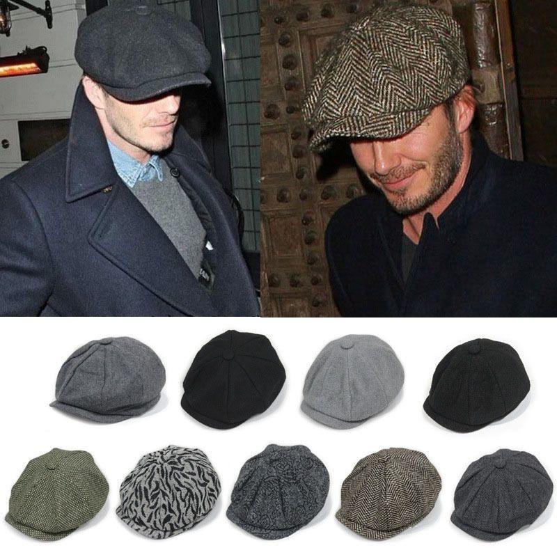 Men Wool Gatsby Eight Panel Newsboy Cap Comfy Driving Flat Hat Cabbie Golf  Beret  43eb53299908