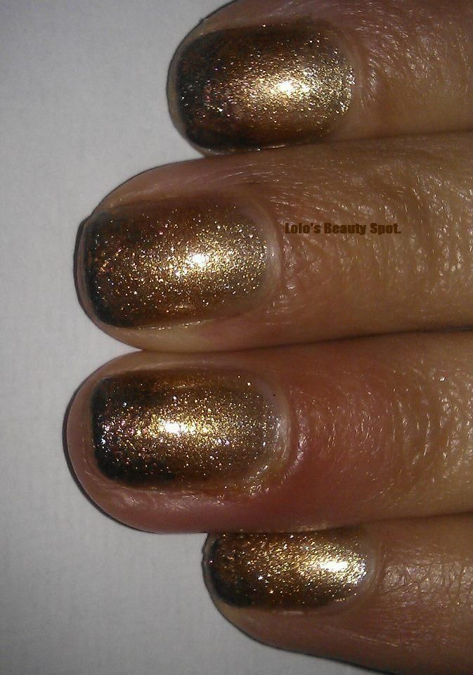 Gold, Brown, Bronze Gradient, Ombre Autumn Nail Art