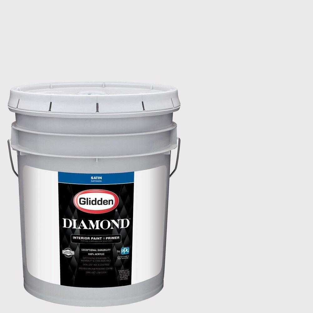 Glidden Diamond 5 gal. #HDGV56 Innocent White Satin Interior Paint with Primer