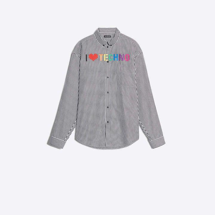 Balenciaga Striped Cotton Poplin Shirt With I Love Techno Embroidery Poplin Shirt Cotton Poplin