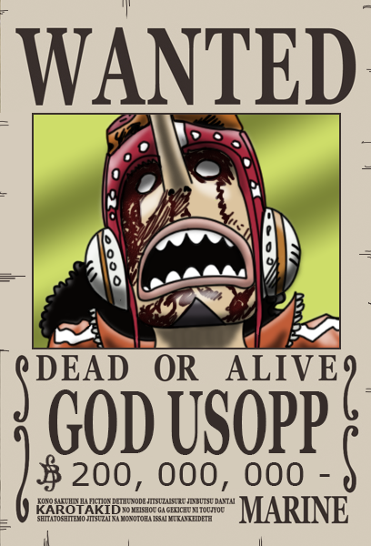 Usopp Dressrosa Wanted Poster 200 000 000 Berry One Piece Manga One Piece Anime One Piece Figure