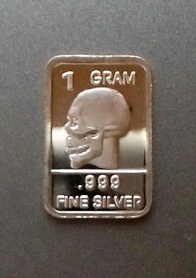 1 Gram Silver Bar 999 Fine Pure Bullion Bu Skull Bars