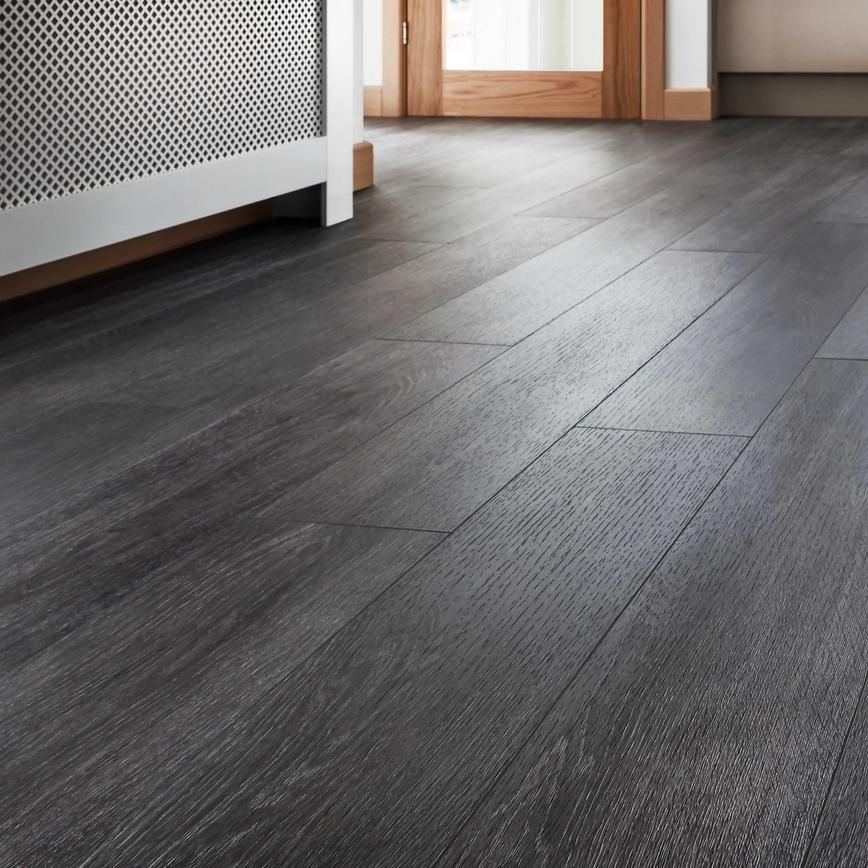 Choose Our Quickstep Livyn Silk Oak Dark Grey Vinyl Flooring And Give Your Home A Clean Grey Laminate Flooring Grey Vinyl Flooring Dark Grey Laminate Flooring