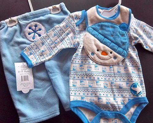 540c4e2f198c ♥ Baby Boy Clothing Lot Set NWT 6-9 months Snow Snowman Blue Pants ...