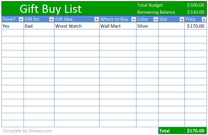 Buy Gift Checklist Template Excel Gift Checklist Buying Gifts Checklist