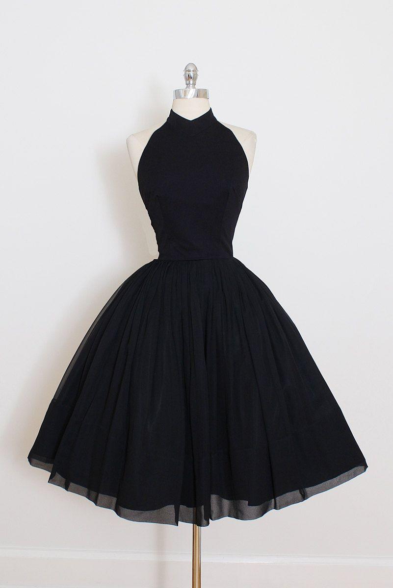Homecoming Dresses Vintage 50s Dress | 1950s Vintage Dress | Black Crepe Halter Dress