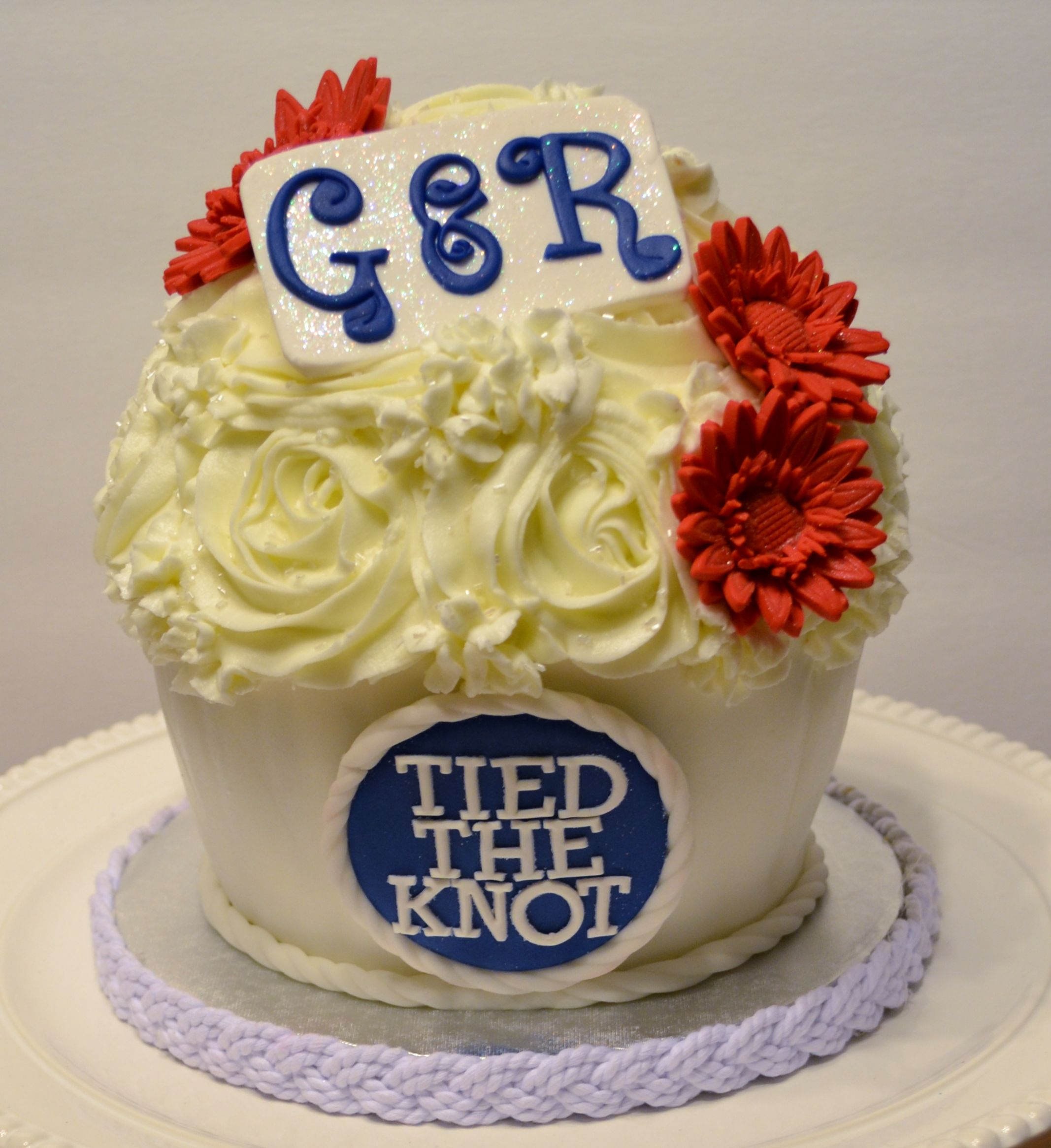 Tied the knot wedding cake giant cupcake for nautical wedding on a ...