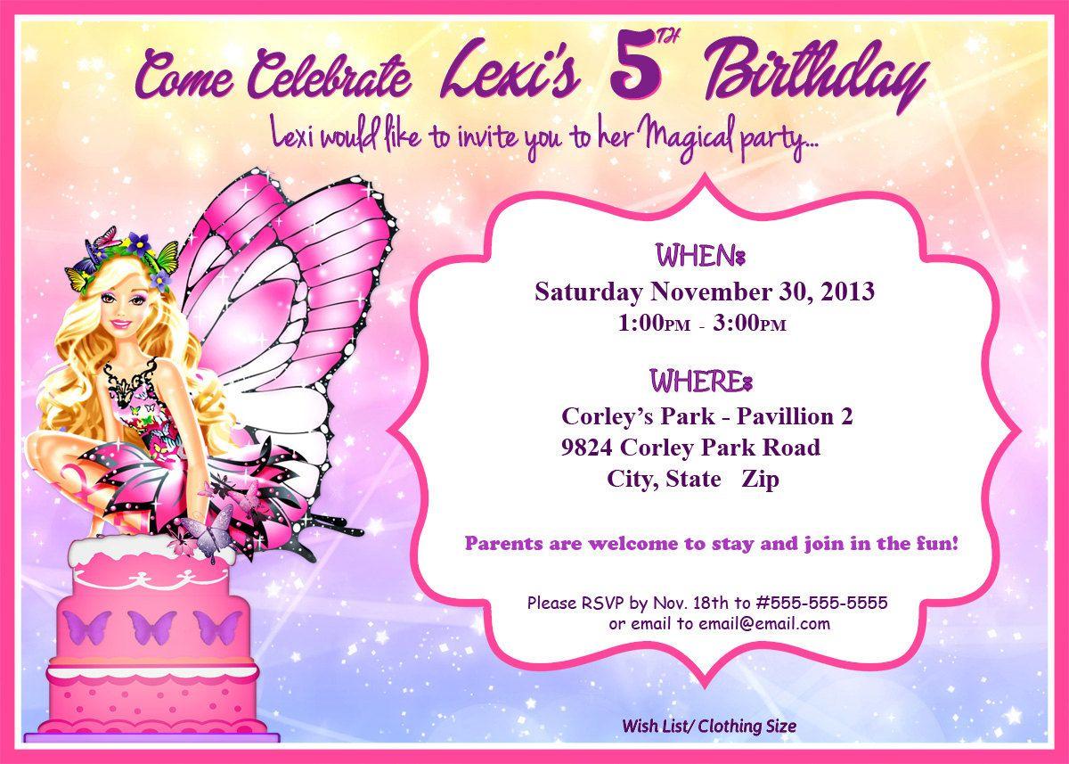 Mariposa Barbie Princess Party Invitation By ElleCoutureCreations 499