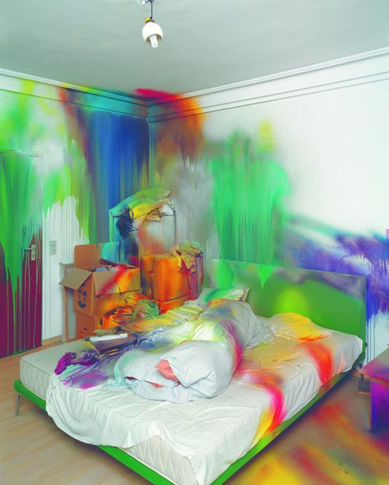 Bed Splash Katharina Grosse Blend Dripping Interior Multicoloured Neon Paint