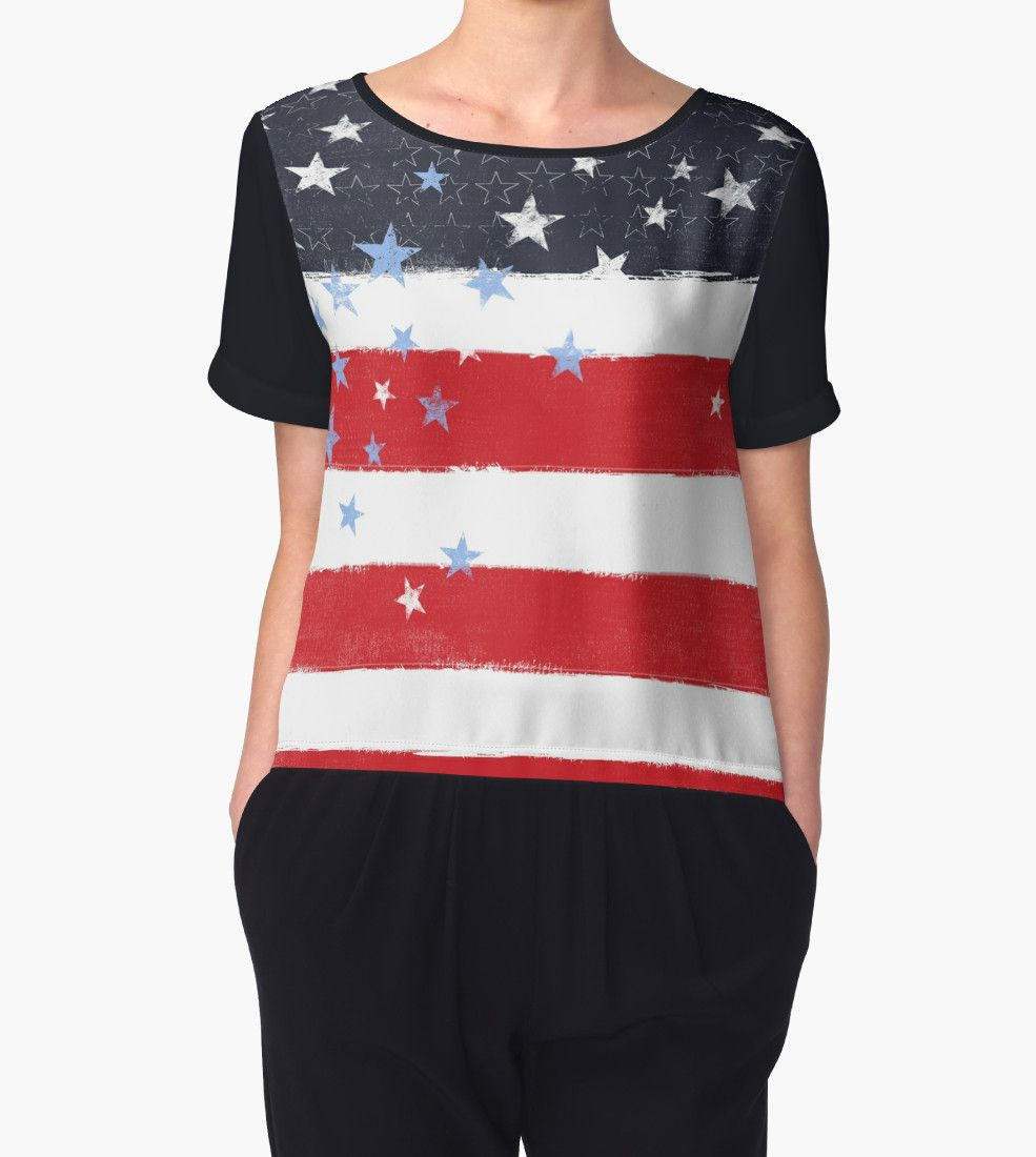 Patriotic Grunge Stars and Stripes Chiffon Top, Dresses, Leggings and More Clothing at Redbubble    #Patriotic #Tops #USA #America