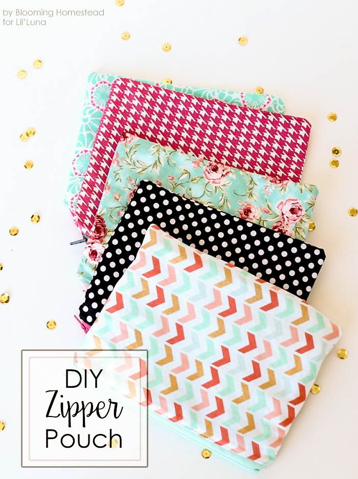 DIY Zipper Pouches Diy pouch no zipper, Sewing crafts