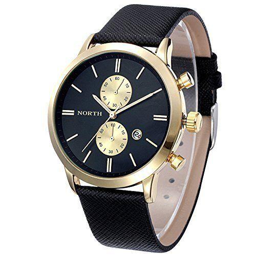 Kolylong Männer Beil?ufig Wasserdicht Leder Band Uhr (Gold2) - http://on-line-kaufen.de/qaintter56/qaintter56-herren-kunstleder-armbanduhr-10