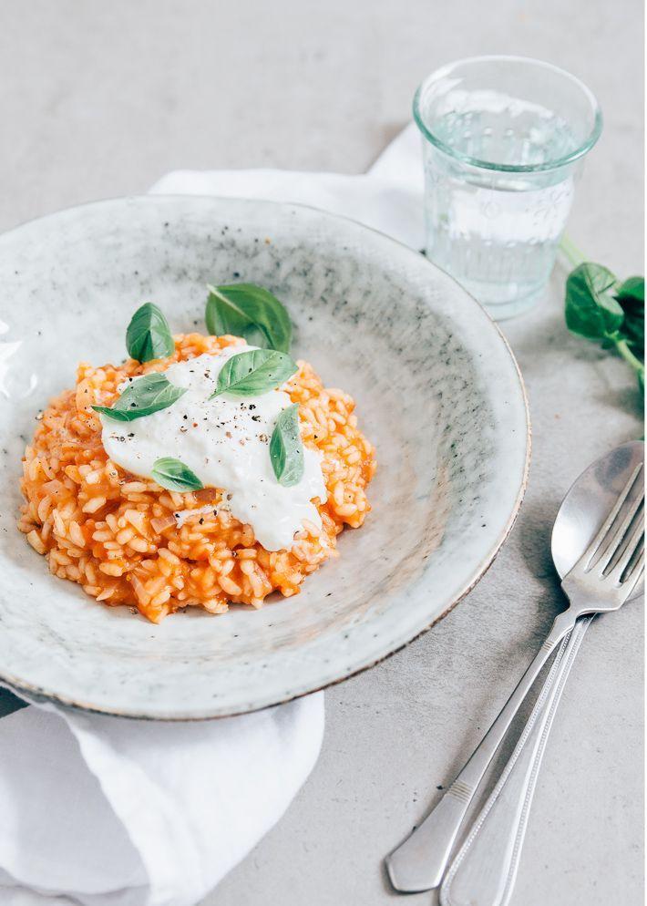 tomaten risotto met burrata dinerrecipes