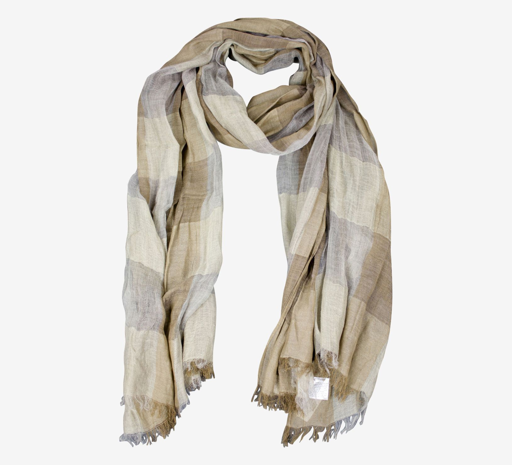 """NWT PAS DE CALAIS Grey/Brown Checked Rectangle Scarf 80"""" x 43"""" Measurements: Length: 80"""" Width: 43"""" 100% Authentic Fabric: 72% Cotton, 24% Linen, 4% Cashmere Condition: New with tags  Not Returnable V"""