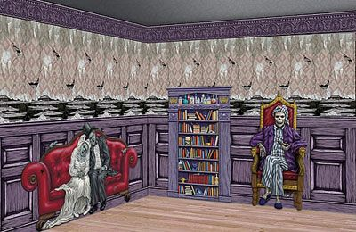 gothic halloween scene setter haunted mansion room roll decoration set ps