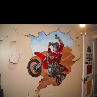Dirt bike decal, great for Bry's future room Bike room