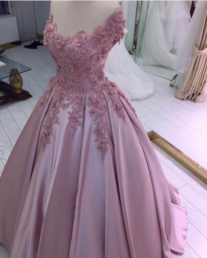 Off shoulder sweetheart satin ball gowns prom dress with lace flower ...