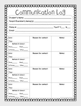 Parent Communication Log Communication Log Parent Communication Log