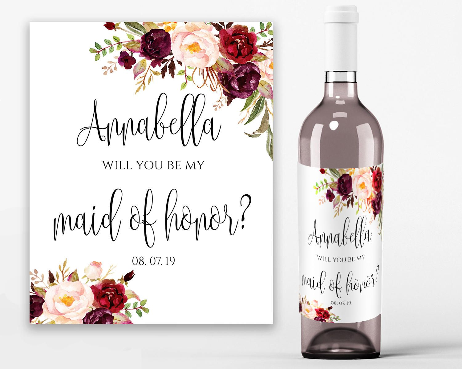 Will You Be My Bridesmaid Wine Label Printable Wine Bottle Etsy Wedding Wine Labels Wine Bottle Labels Wedding Bridesmaid Wine Label