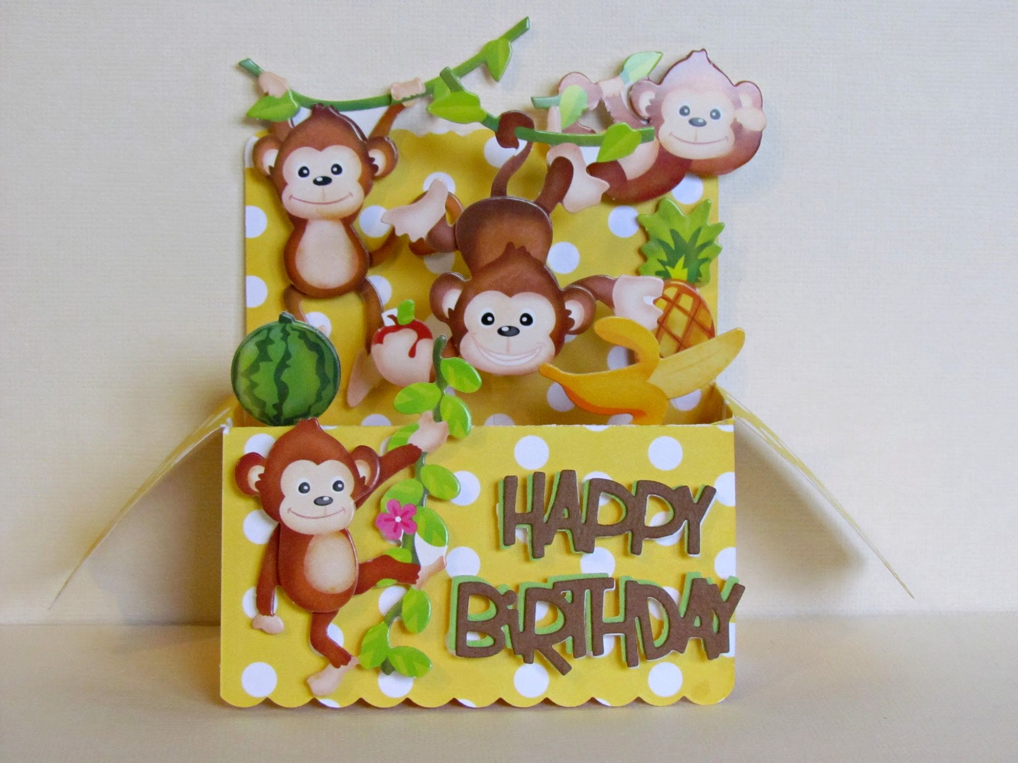 Monkey Pop Up Card Happy Birthday Card Children S Etsy Kids Birthday Cards Holiday Cards Handmade Birthday Cards