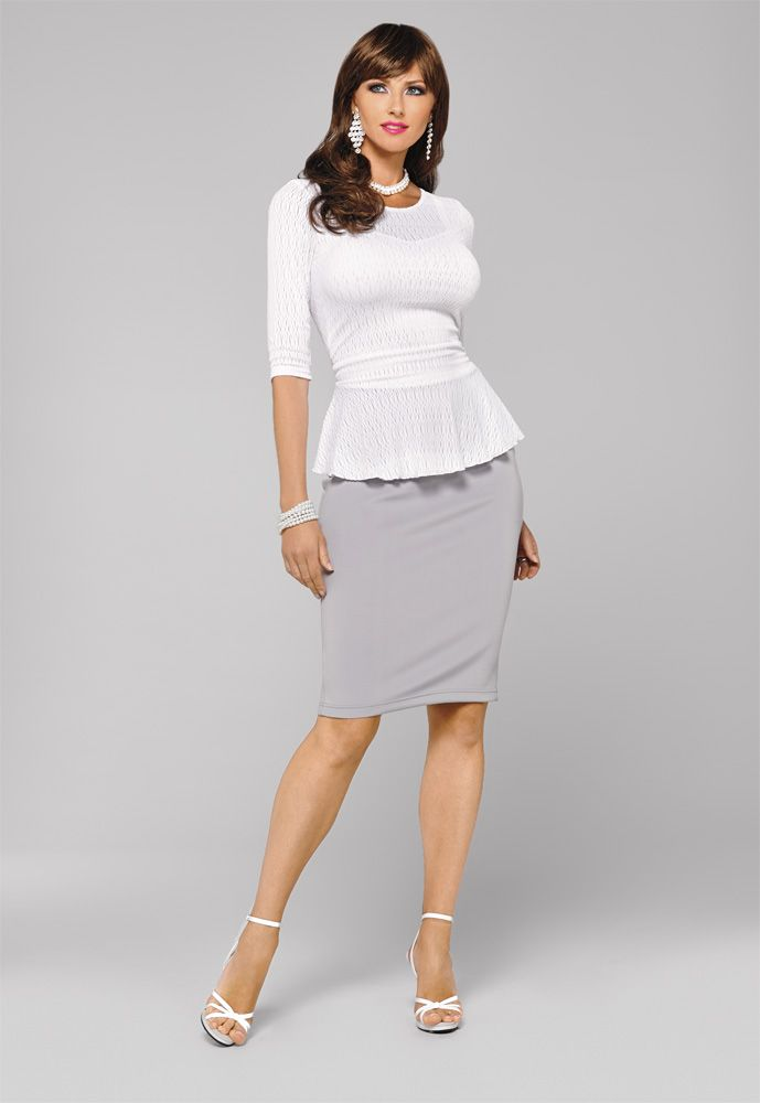The Suddenly Fem Signature Peplum Top in White | crossdresser.com | Pinterest | Suddenly ...