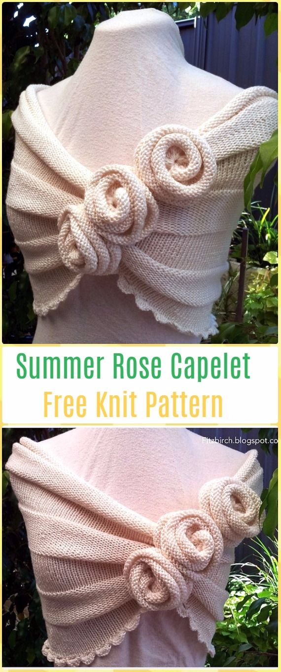 Knit Summer Rose Capelet Free Pattern - Knit Women Capes & Poncho ...