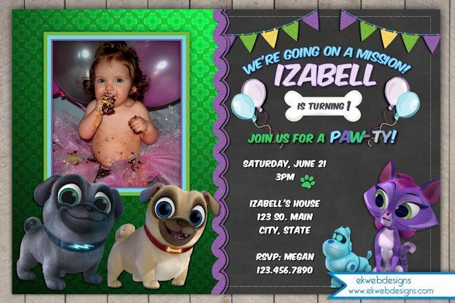 Disney Puppy Dog Pals Birthday Invitation With Photo Puppy Birthday Parties Birthday Invitations Kids Animal Themed Birthday Party