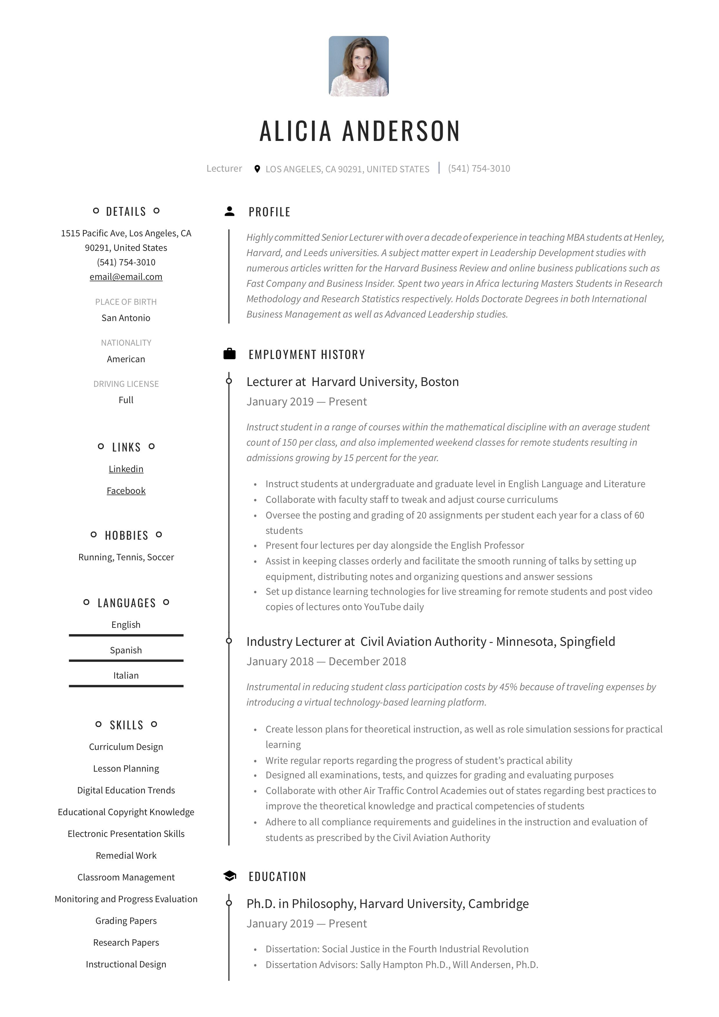 Lecturer resume example in 2020 resume examples resume